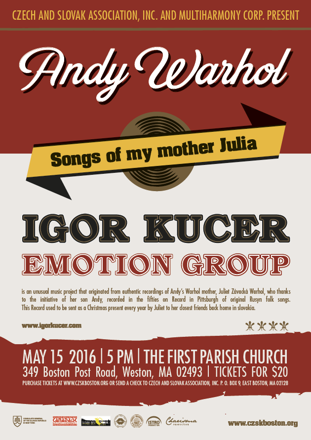 !!CANCELED!! Andy Warhol: Piesne mojej matky Júlie (the Songs of my mother Julia) – MAY 15, 2016